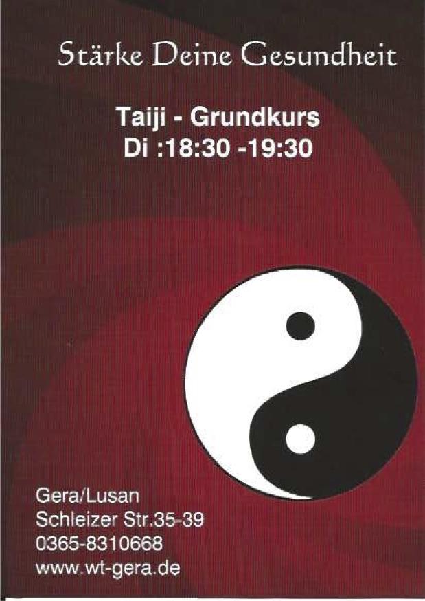 Tajiquan - Flyer für den neuen Kurs zum Einstieg in Gesundheitsförderung  oder Kampf