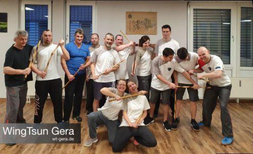 Trainingsgruppe im Lehrgang Selbstverteidigung, Kampfsport, Escrima, Alltagsgegenstände