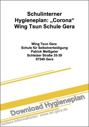 Deckblatt Hygieneplan EWTO Schule für Selbstverteidigung Meißgeier - Gera - Stand 13.6.2020 -  Zum Download klicken